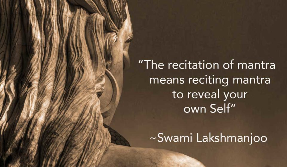 """""""The recitation of mantra means reciting mantra to reveal your own Self"""" ~Swami Lakshmanjoo"""