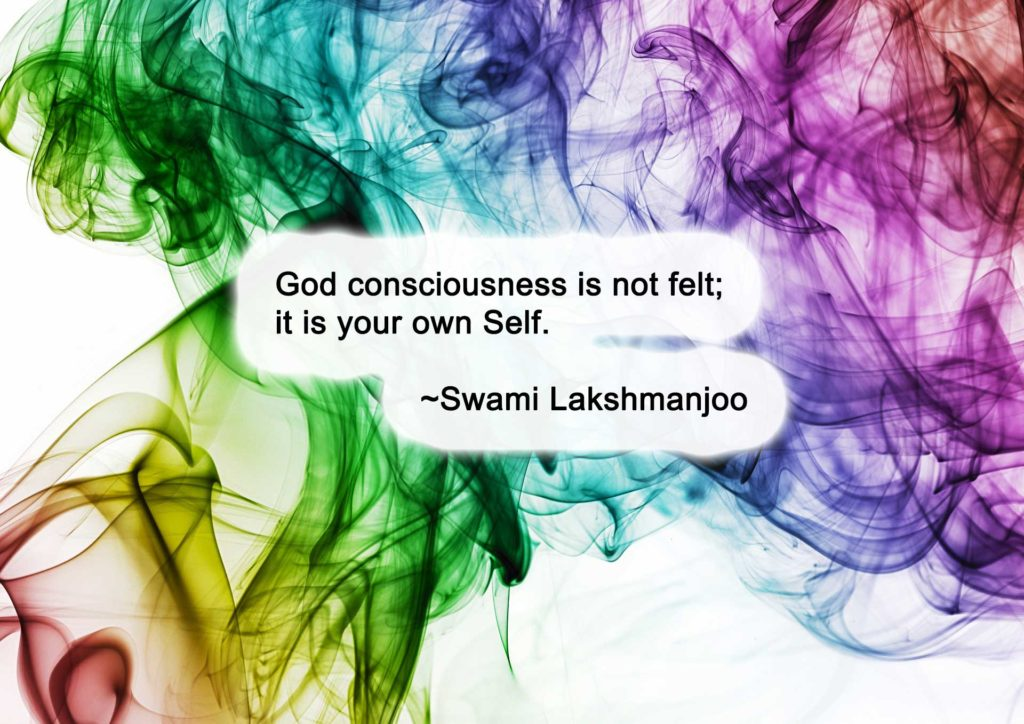 God consciousness is not felt; it is your own Self. ~Swami Lakshmanjoo