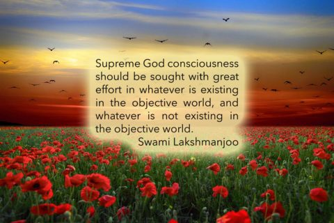 Supreme God consciousness should be sought with great effort in whatever is existing in the objective world, and whatever is not existing in the objective world. Swami Lakshmanjoo