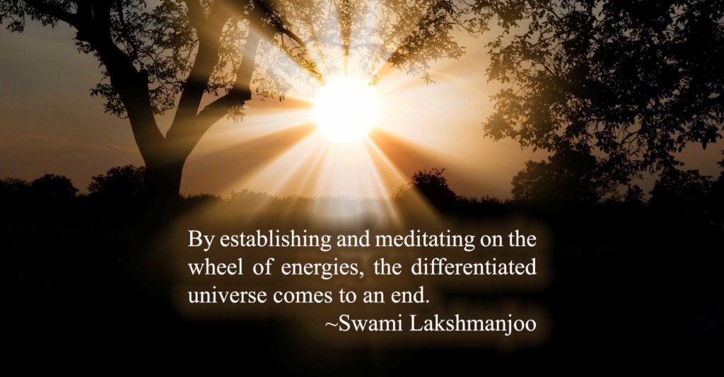 By establishing and meditating on the wheel of energies, the differentiated universe comes to an end. ~Swami Lakshmanjoo